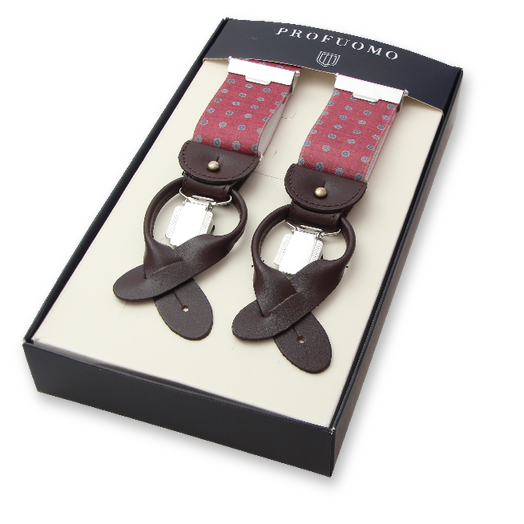 Profuomo mens braces Red Pattern (1)