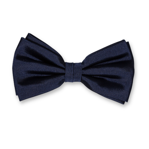Navy Bow Tie - Satin Silk (1)