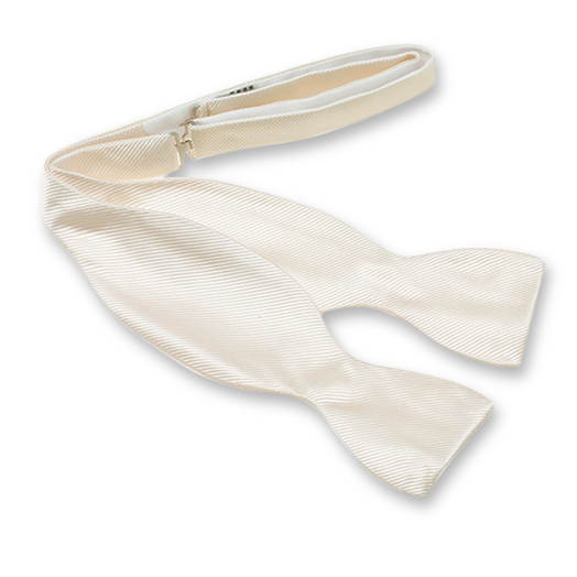 Cream White Self-Tie Bow Tie - Silk (1)