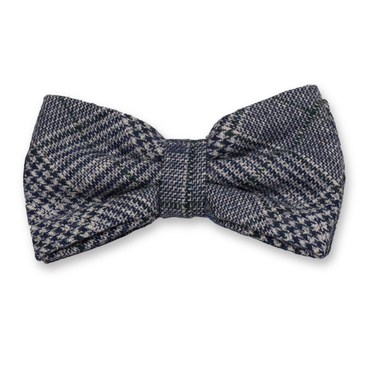 Checked wool blue bow tie (1)