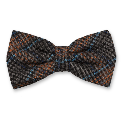 Checked wool black/orange bow tie (1)