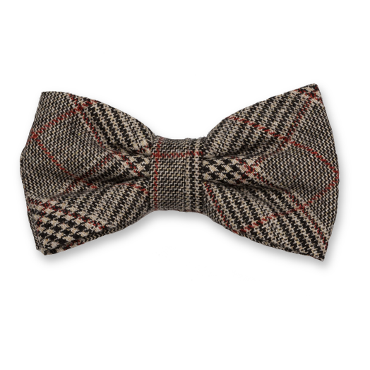 Wool Checkered Bow Tie - Beige - Black -Red (1)