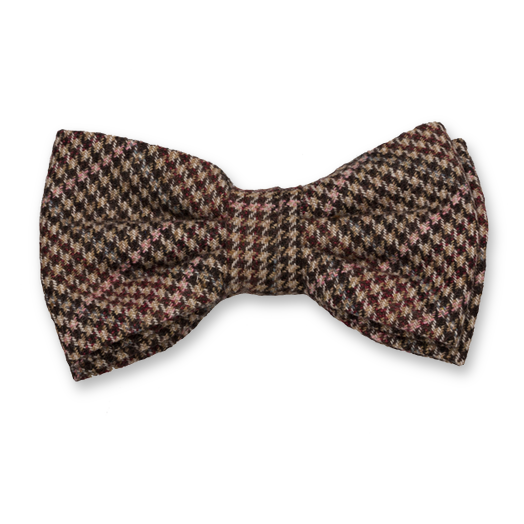 Checked wool brown/fuchsia bow tie (1)
