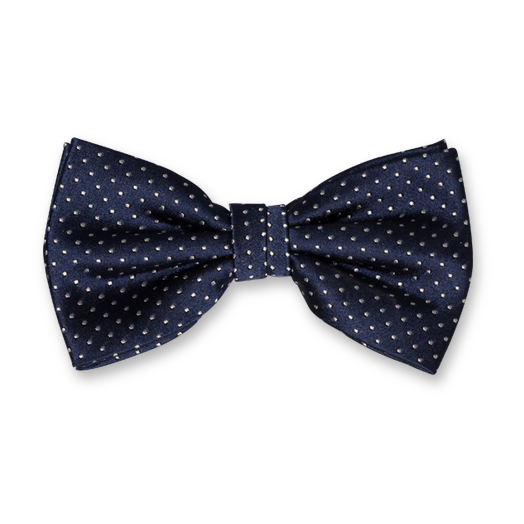 Bow Tie - Navy with Dots - Silk (1)