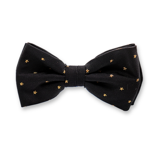 Black Bow tie with Golden Stars - Silk (1)