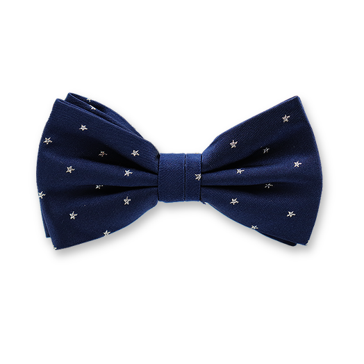 Dark Blue Bow Tie With Silver Stars - Silk (1)