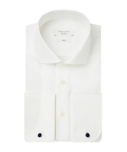 Profuomo Wedding Shirt - Off White - Slim Fit - Twill - Double Cuff (1)